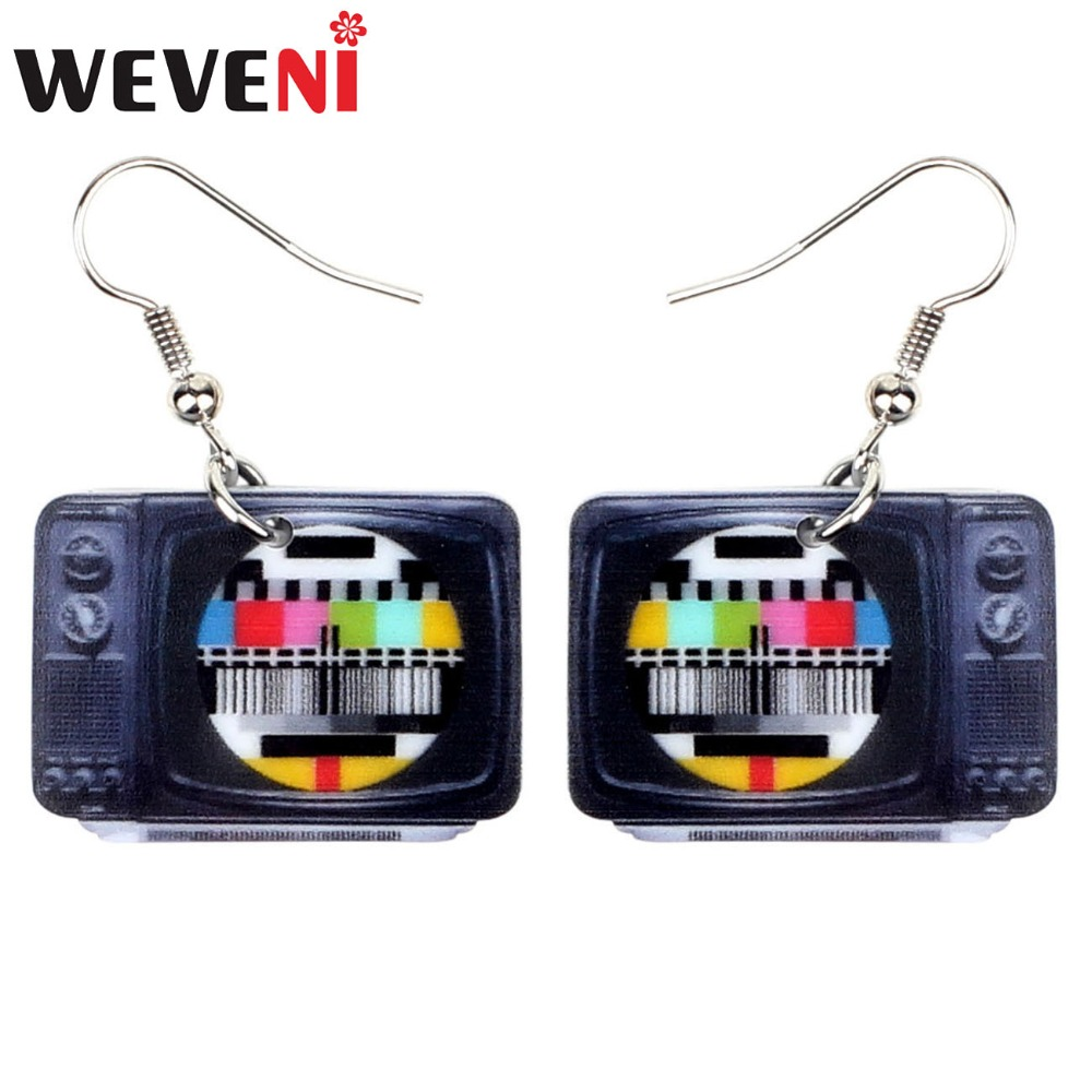 WEVENI Statement Acrylic Classical Television Earrings Drop Dangle Big Long Fashion Jewelry For Women Girls Gift Accessories