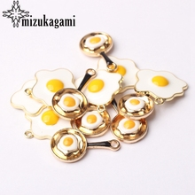 Zinc Alloy Golden Enamel Omelette Sun Egg Pan Shape Charms 10pcs/lot 14MM For DIY Fashion Jewelry Finding Making Accessories