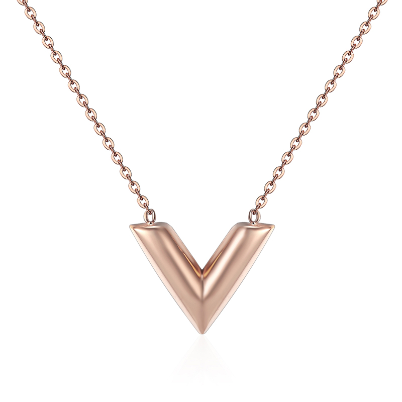 Classic Design Famous Brand V Letter Pendant Necklace For Woman Titanium Steel Woman Necklace Luxury Jewelry Female Top Quality 10