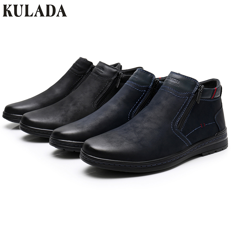 KULADA offre spéciale bottes vache daim hommes hiver bottine hommes les plus chaudes bottes de neige Double fermeture éclair côté botte décontracté épais fourrure chaussure - 6