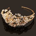 SE1005 high-end bridal headdress new handmade tiaras crystal jewelry rhinestone hoop golden crown pearl jewelry hair accessories
