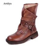 Artdiya Đầu lớp da bò nữ khởi động phía dây kéo nửa boots gót thấp giày các vành đai khóa thường khởi động hiệp sĩ 1592-1