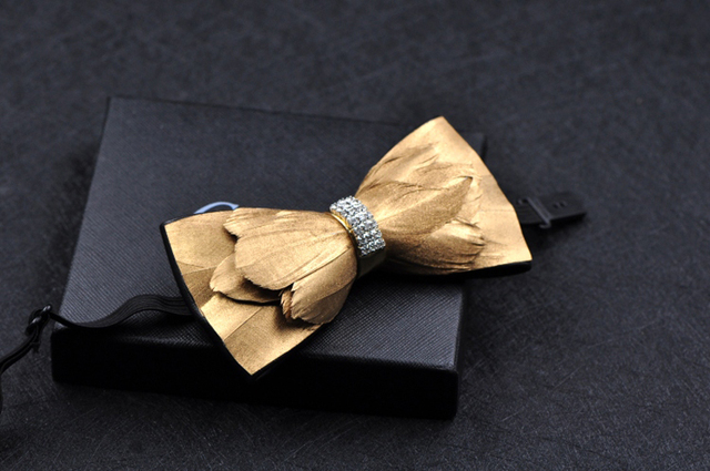Free shipping New fashion men's male man handmade Pure natural feather stitching leather bow men's bow tie male groom wedding
