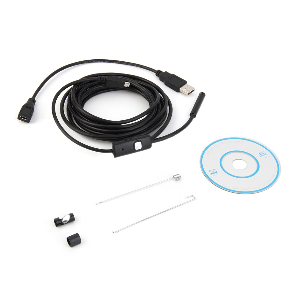 3.5M 7mm Lentille HD 480P USB OTG Serpent D'endoscope Imperméable 6leds Tuyau D'inspection Caméra Endoscope Pour Téléphone Android PC