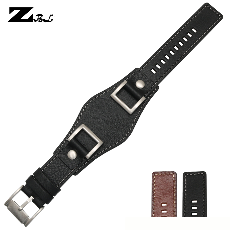 High grade genuine leather bracelet 24mm mans watchband with mat handmade watch strap double head layer cowhide watch band