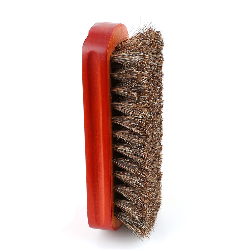 Horse hair shoes brush wood natural leather real horsehair - Natural horse hair interior upholstery brush ...