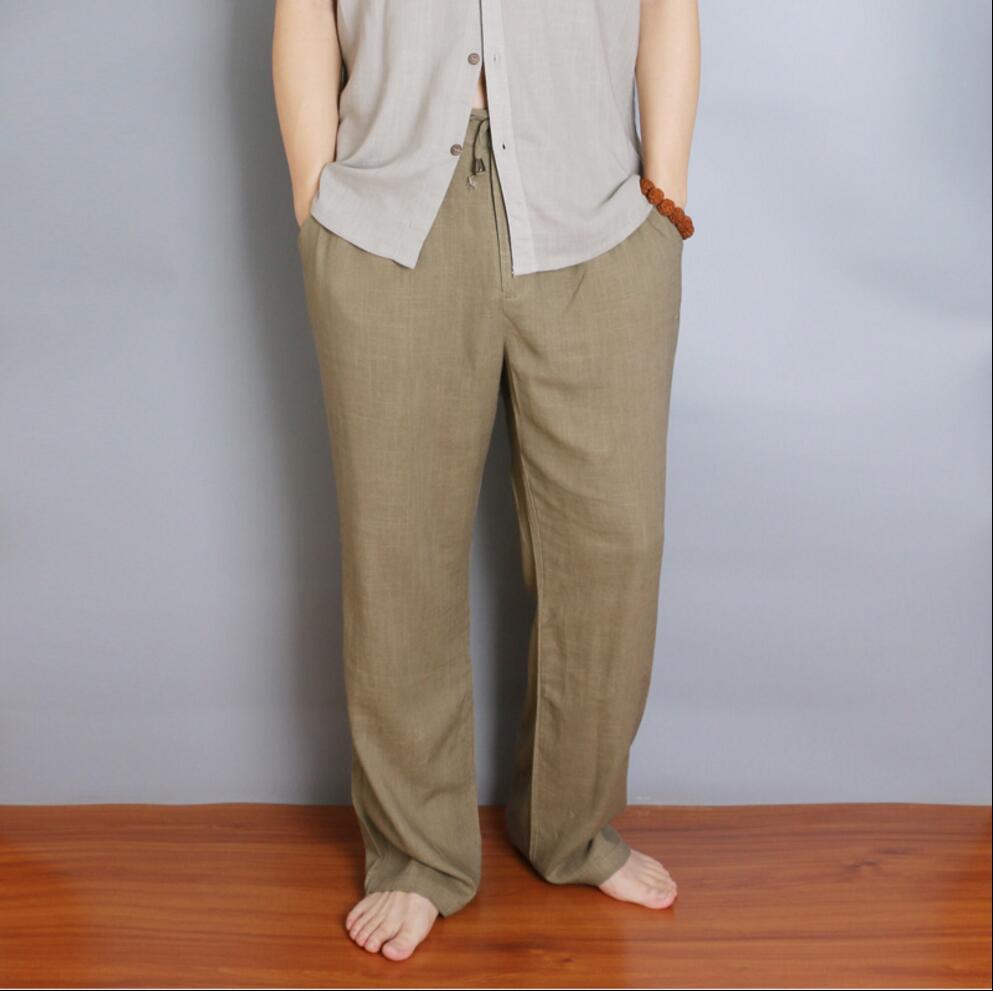 M-5XL Spring and summer Natural cotton linen casual pants men straight trousers fluid loose plus size pants vintage Beach pants men s fashion casual cotton pants brown size 33