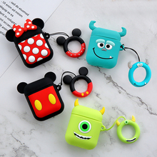 3D Cute Cartoon Wired Bluetooth Earphone Case For Apple AirPods Silicone Charging Headphones Cases Airpods Protective Cover
