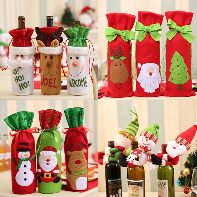 Christmas Wine Bottle Decor Set Santa Claus Snowman Deer Bottle