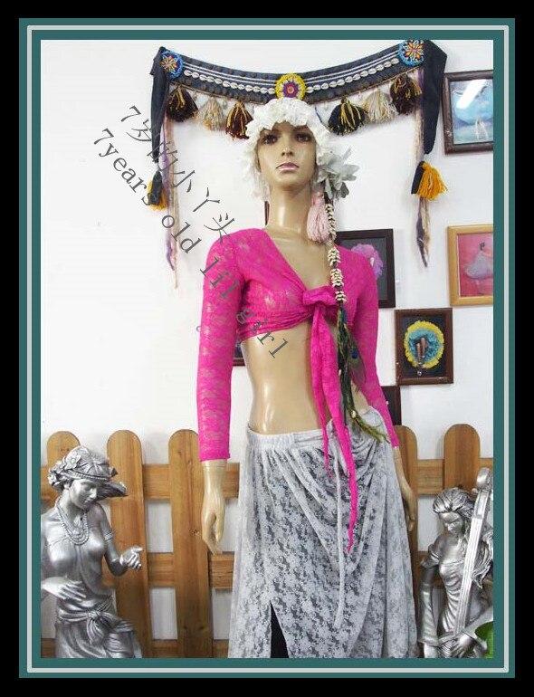 .Lace Belly Dance Top Gypsy Bohemian Top Korea Lace 9 Sleeve Top DM67