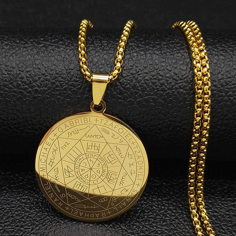 2019 Witchcraft Pentagram Stainless Steel Chain Necklace for Men Gold Color Necklaces & Pendants Jewelry collier homme N18901