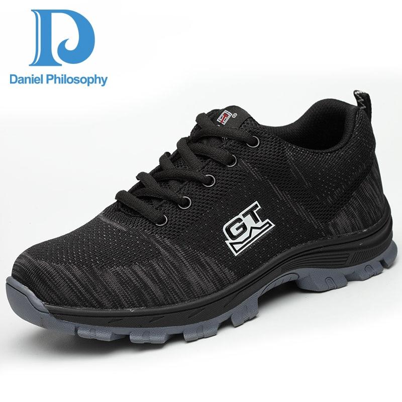 Respirável Punção Do amp; Sapatos Dos Aço Blue Industrial De Malha Ar Construção Masculinos Dedo Trabalho À Size Pé Plus red Livre Prova Homens Ao Segurança PqIanBYY