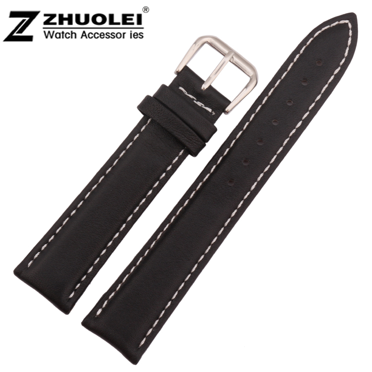 18mm 19mm 20mm 21mm 22mm Mens Black Smooth Genuine Leather Watch Strap Band Steel Buckle Wrist Watch Band стоимость
