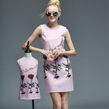 mother daughter dresses new brand rose printed mother and dauther dress for summer autumn high quality