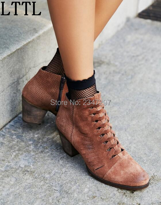 Gladiator Sexy vintage women ankle font b boots b font cross strap high heel breathable font