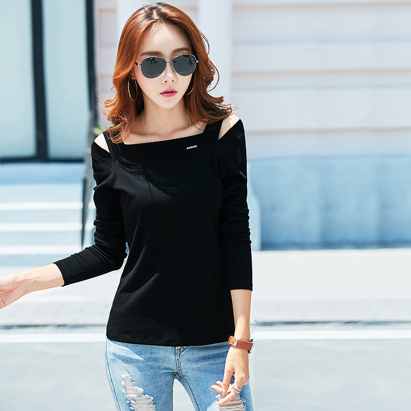 New Off The Shoulder Tops For Women T-Shirts Fashion 2017 Autumn Sexy Slim Slash Neck Cotton Long Sleeve Korean T Shirt Femme