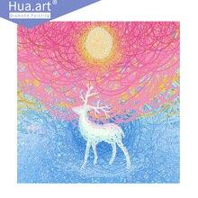 Hua. Art, diamond embroidery, diamond painting, animal, abstract, creative, colorful elk, home decoration, diamond Mosaic
