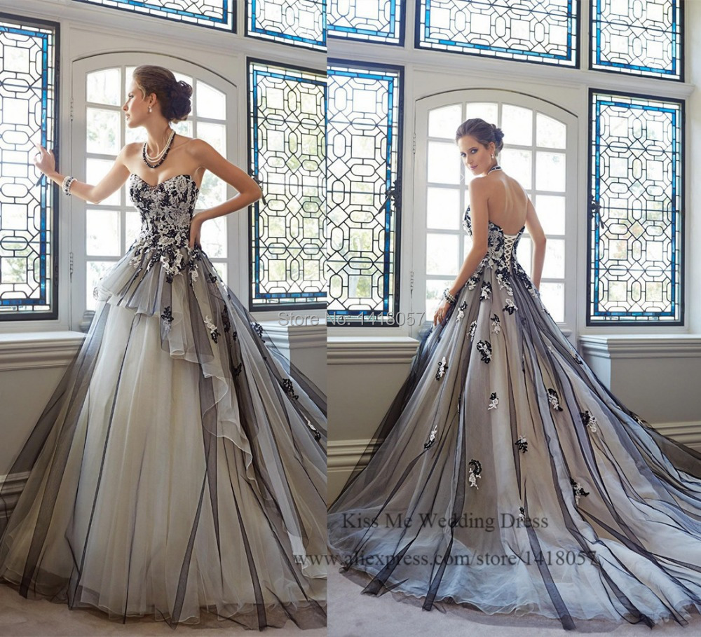 Sell Your Wedding Gown: 2015 Hot Sell White And Black Wedding Dress Lace Princess
