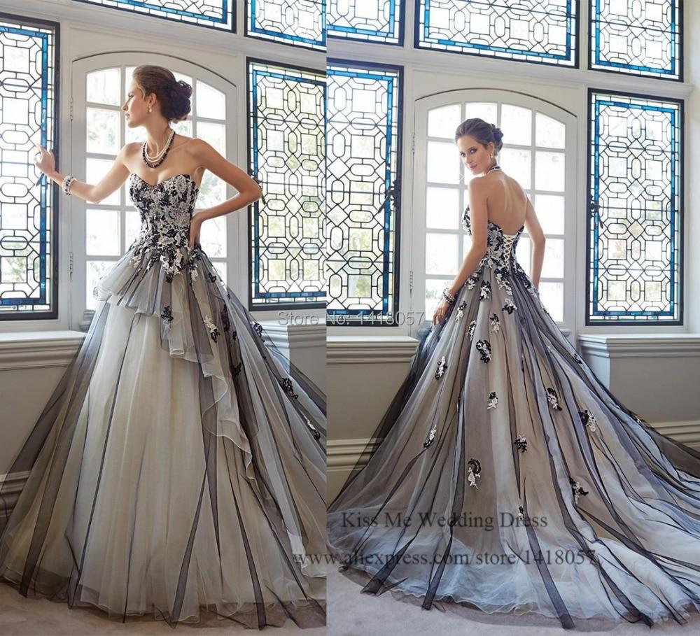 2015 Hot Sell White And Black Wedding Dress Lace Princess