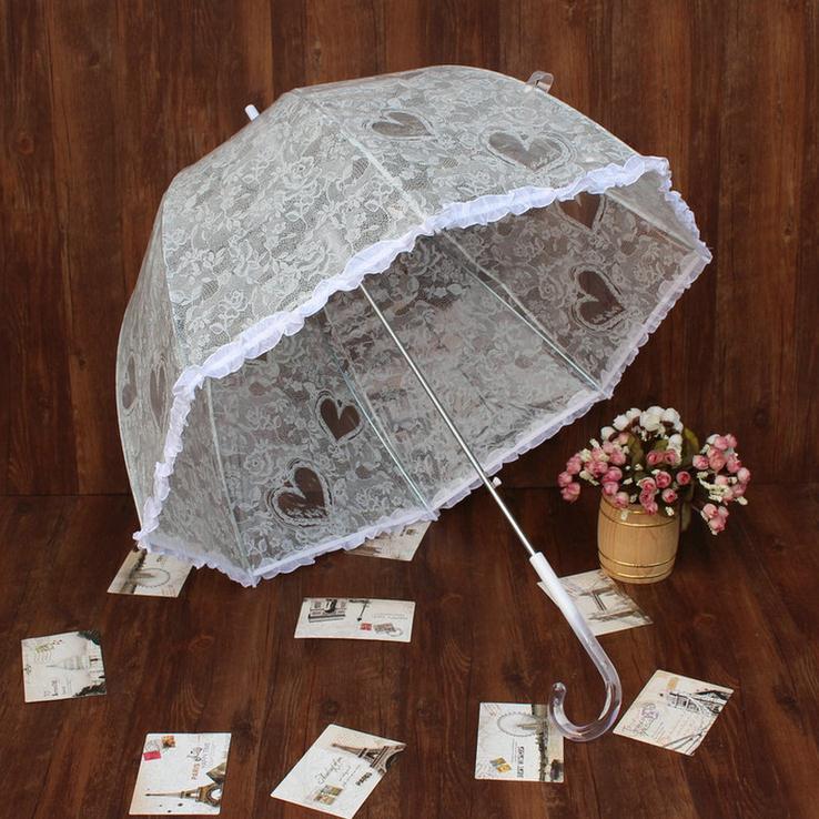 패션 화이트 레이스 우산 버섯 우산 긴 처리 귀여운 웨딩 공주 우산 레이스 투명한 방수