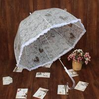 Fashion White Lace Umbrella Mushroom Umbrella Long Handled Cute Wedding Princess Umbrella Lace Transparent Waterproof