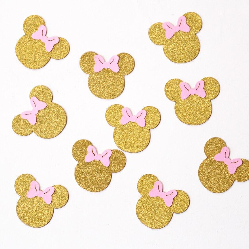 Конфетти с мышкой, блестящие золотые и розовые вечерние украшения, декор для стола с мышкой, золотые конфетти,