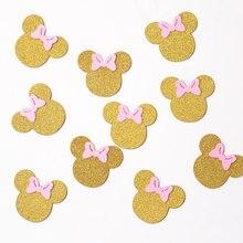 Rato confetes, glitter ouro e decoração de festa rosa, mesa de rato, confetes de ouro,