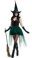 4 Pcs Gothic Witch Halloween Costume Sorceress Costume Adult Witch Fancy Dress Witch Wicked Cosplay
