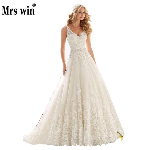 2019 New Design A-Line Lace Wedding Dresses V-Neck Beaded Sash Backless Sexy Vintage Wedding Gowns Vestido De Noiva