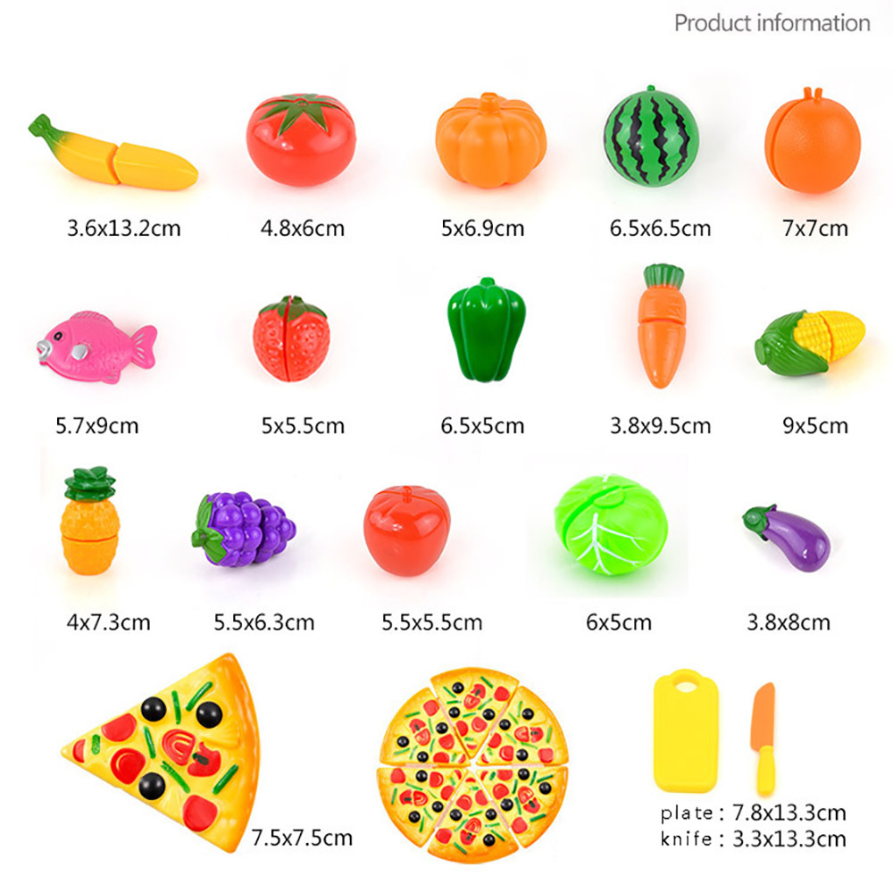 Sozzy Pretend Play Plastic 24PCS Plastic Food Toy Cutting Fruit Vegetable Food Pretend Play Children Kid Educational Toy