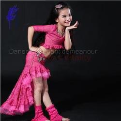 Новое прибытие девушки костюмы танец живота старший кружевной топ + длинная юбка 2 шт. танец живота комплект для девочек танец живота