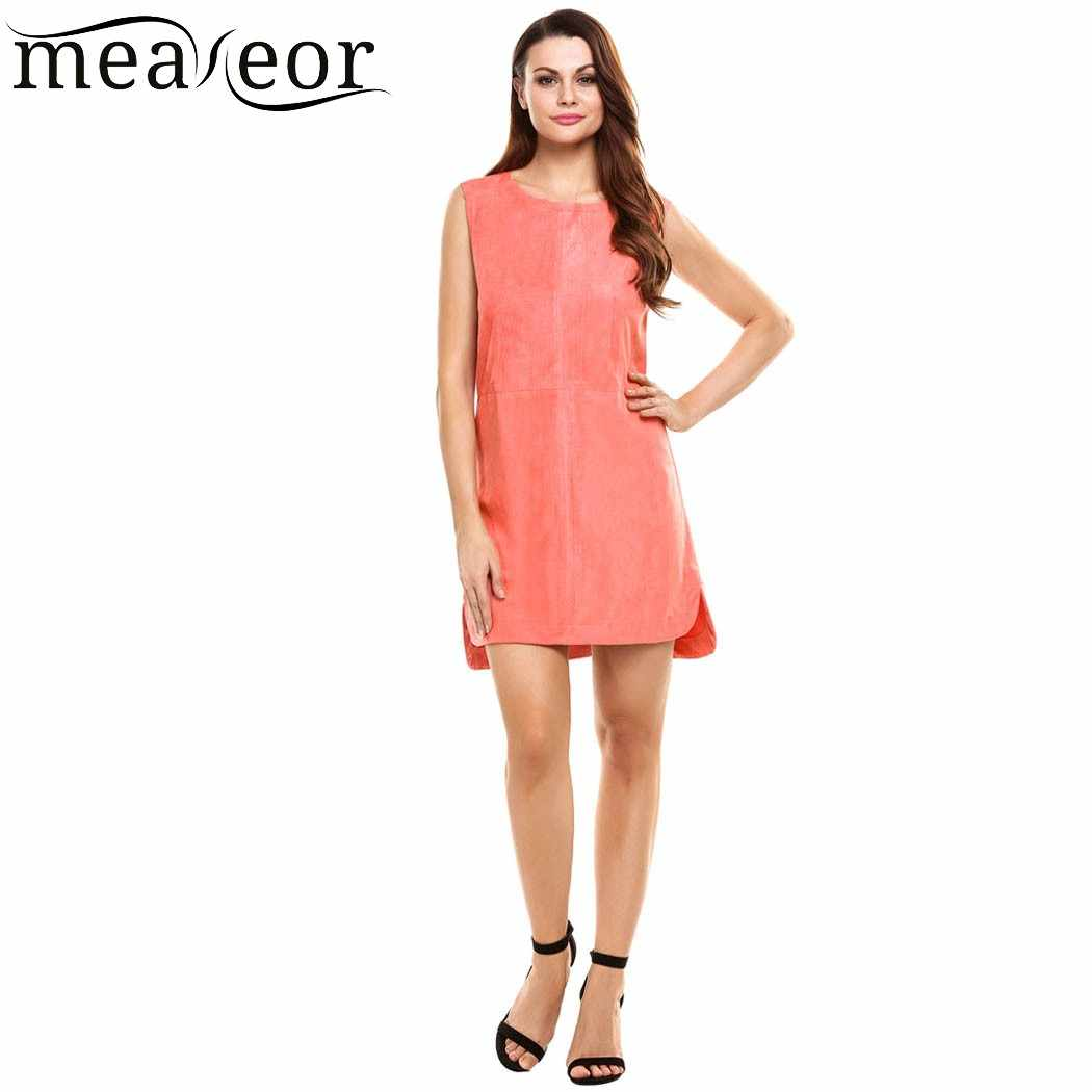 7ab48dd223b ... Meaneor Для женщин летнее платье Повседневное Новинка 2017 года без  рукавов с круглым вырезом на молнии ...