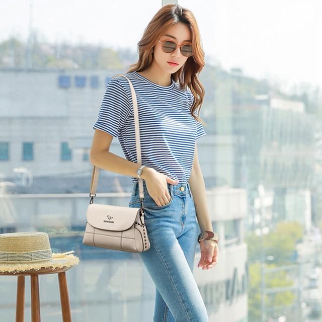 Luxury White Women Messenger Bags Female Leather Handbags Small Crossbody Bag For Women Shoulder Bags Famous Brand Designers New 6