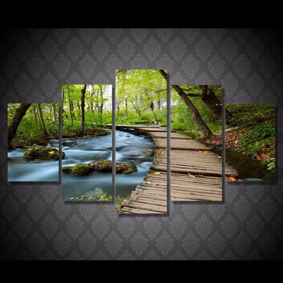 HD Stream wooden woods Nature 5 Piece Canvas Framed Print Wall Art ...