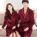 Marca Parejas de Manga Larga Dormir Robe Hombres/Mujeres Robes ropa de Noche Polar de Coral Albornoz de Franela Visón Espesar Albornoces para Los Amantes