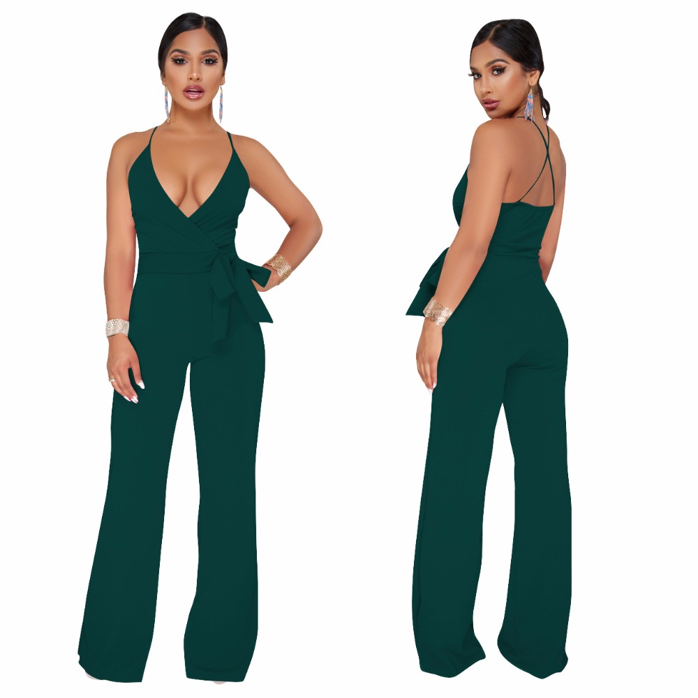 Halter V Neck High Waist Long Pant Rompers Sexy Women Strap Backless Sashes One Piece Jumpsuit Plus Size Leotard S-XXL