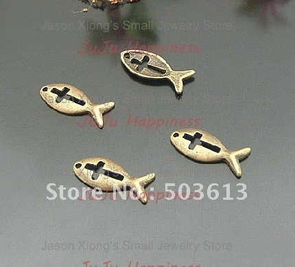 20pcs 20*8.5mm Alloy Pendant Antique Bronze Animal Fish Cross DIY Pendant Neklace Pendant ap1135