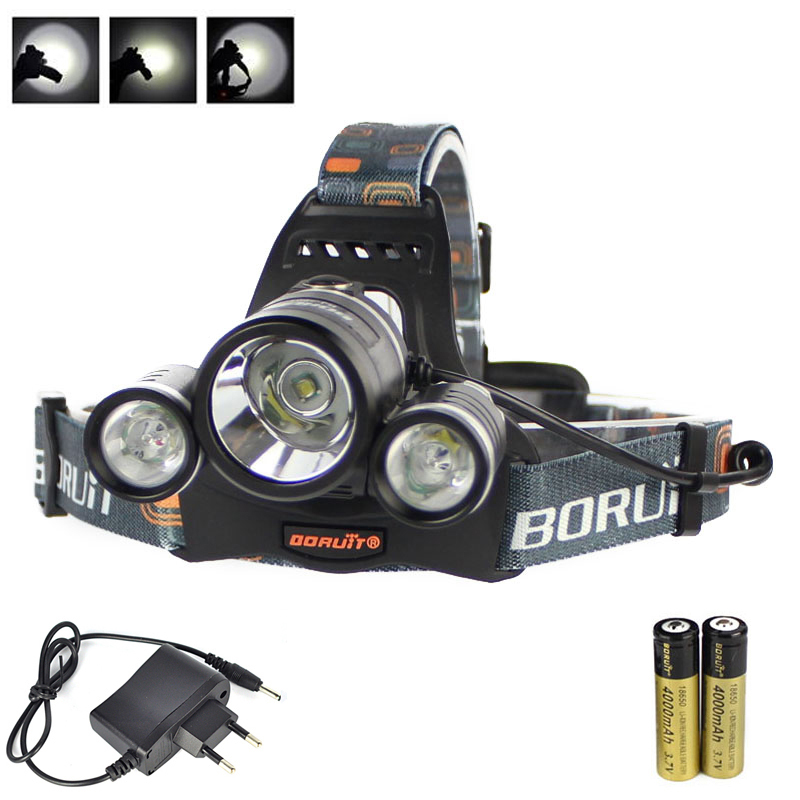 BORUIT 5000Lm 3X XM-L T6+2R5 LED Headlamp Head Light Torch 2X 18650+ AC Charger 6000lm 3x xm l t6 white 2r5 red led headlamp bike bicycle head light torch headlight lampe frontale ac charger 2x18650 battery