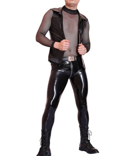 Sexy Men Faux Leather Slim Vest Black PVC Shiny Tank Tops Punk Club Dance Wear Light Standard Cool Wear Male Tees Plus Size NC99 3
