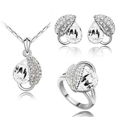 Летняя жизнь лист красивая капля воды для женщин океанический синий кристалл кулон Ювелирные наборы ожерелье серьги 2 в наборе 84172 - Окраска металла: white 3