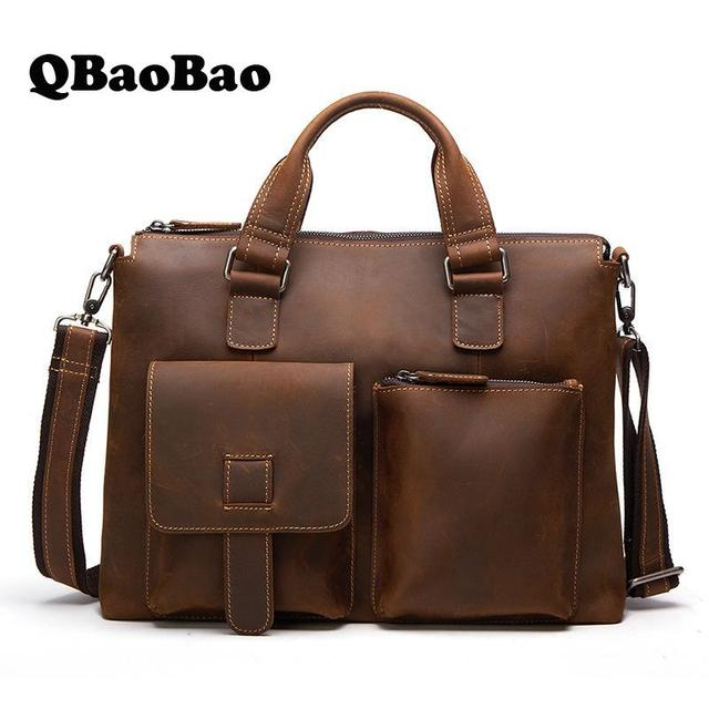 First Layer Genuine Leather Men Bag Crazy Horse High Quality Travel Men Handbag Business Tote Male Shoulder Men Messenger Bag