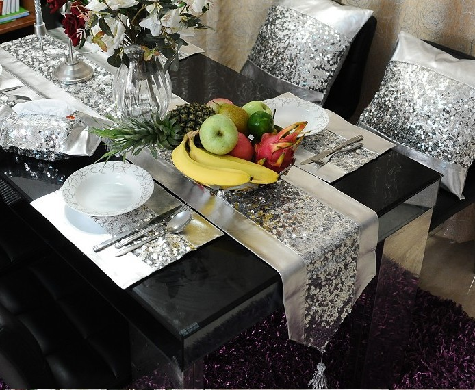 #139 Luxury silver sequinsu0026PU patchwork table mat 4 place matu00261 runner set (total 5pcs) wholesale freeshipping promotion-in Table Runners from Home u0026 Garden ... & 139 Luxury silver sequinsu0026PU patchwork table mat 4 place matu00261 ...