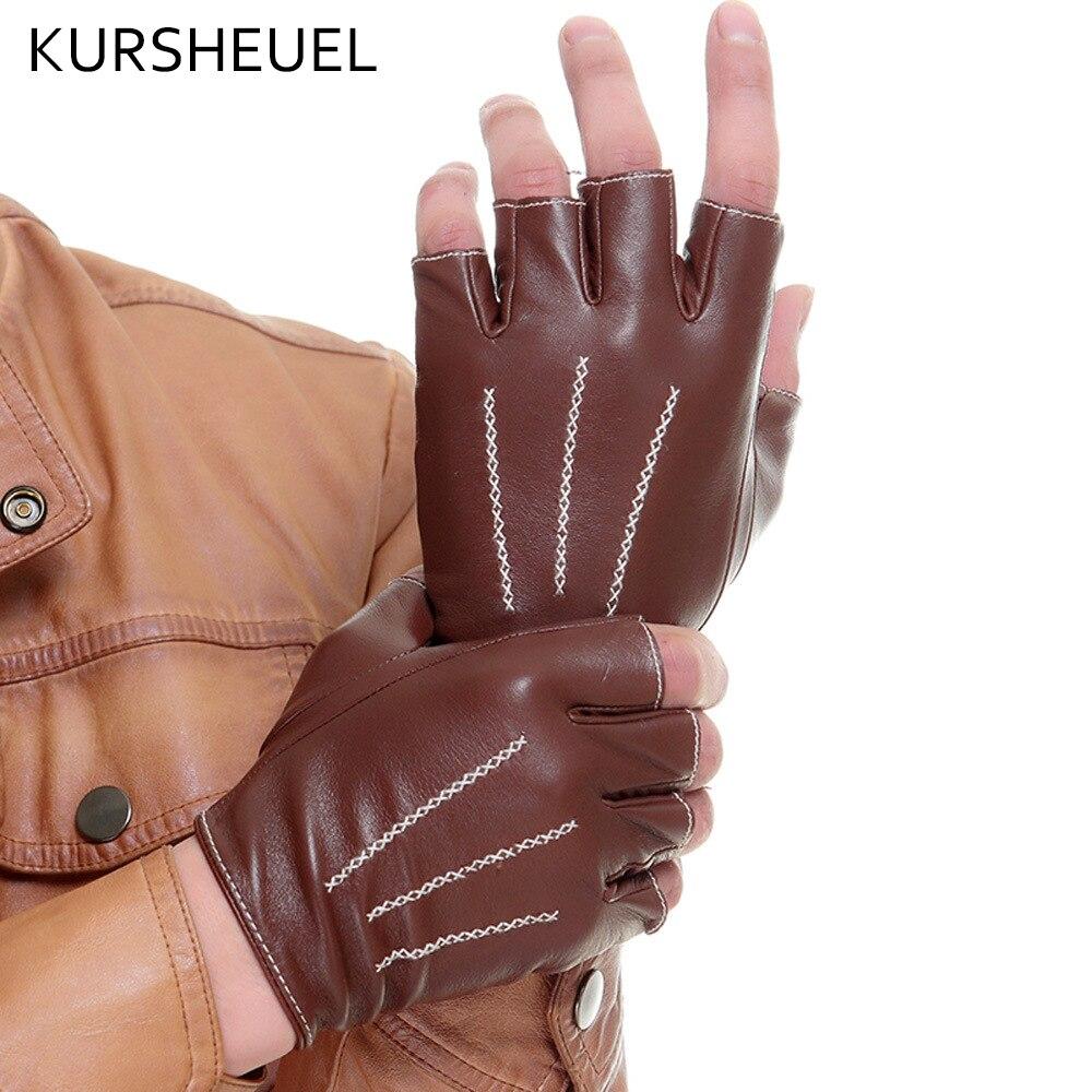 Black leather gloves with coloured fingers - Kursheuel Half Finger Men Driving Leather Gloves Women Fingerless Solid Black Male Female Leather Gloves Original