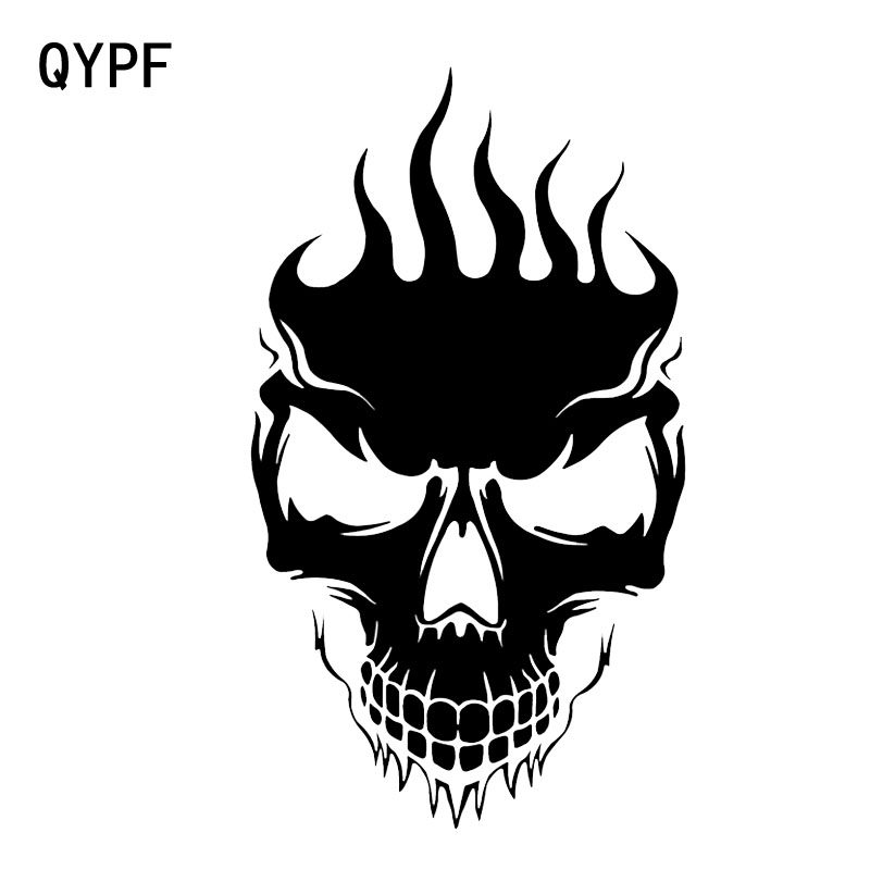 QYPF 10.1*17.8CM Coolest FLAMES Skull Decoration Car Sticker Black Silver Vinyl Motorcycle Bicycle Accessories Graphic C16-0182