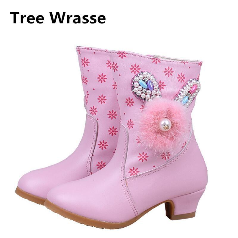 Tree Wrasse New Fashion Winter Girls Snow Boots Korean Version Children Plush Cotton Shoes For Kids