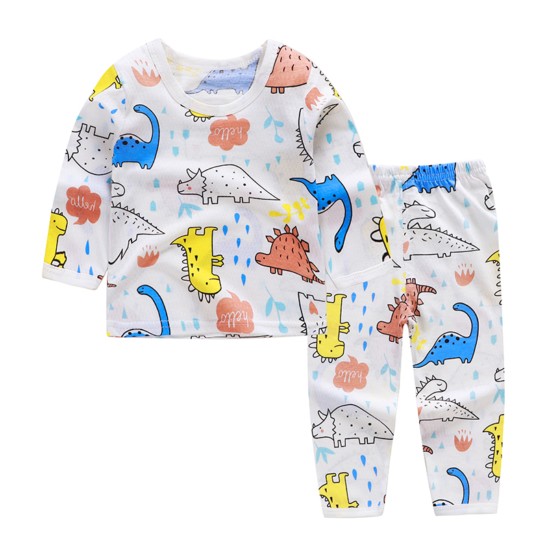 Cute Children's Autumn Pajamas Clothing Set Cartoon Boys & Girls Sleepwear Suits Kids Long Sleeves Top + Pants Baby Home Clothes