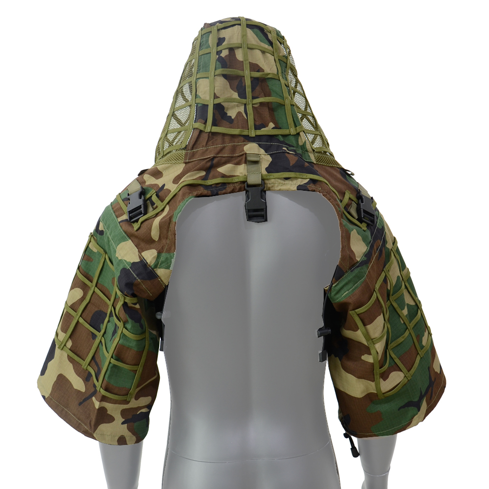 ROCOTACTICAL Ghillie Suit Foundation Ripstop Sniper Ghillie Viper Hood Woodland/CP Multicam/ACU/Digital WoodlandROCOTACTICAL Ghillie Suit Foundation Ripstop Sniper Ghillie Viper Hood Woodland/CP Multicam/ACU/Digital Woodland