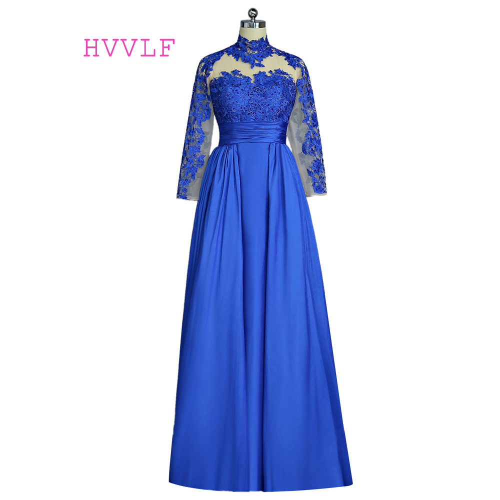 Royal Blue 2019   Prom     Dresses   A-line Long Sleeves Beaded Lace Open Back Women Long   Prom   Gown Evening   Dresses   Robe De Soiree