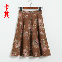Printed elegant skirt 2017 autumn and winter was thin big skirt fashion female suede a word skirtS umbrella 8269