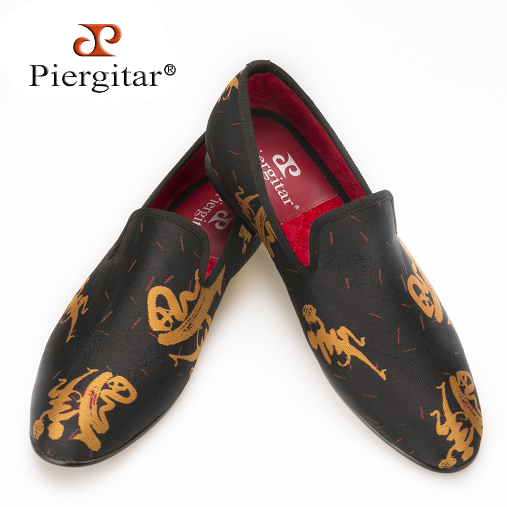Piergitar new style Handmade Men Abstract paintings shoes Fashion Men smoking slippers Prom and Banquet men loafers men's flats piergitar new two color handmade men party and prom shoes fashion rivet shoes plus size smoking slippers men flats men s loafers
